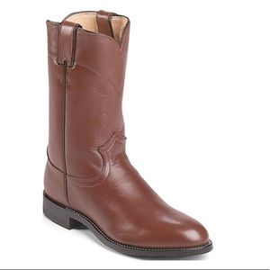 "Justin Corona 10"" Classic Roper Boots Size 8"
